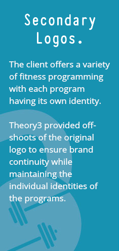 Secondary Logos. The client offers a variety of fitness programming with each program having its own identity. Theory3 provided off-shoots of the original logo to ensure brand continuity while maintaining the individual identities of the programs.