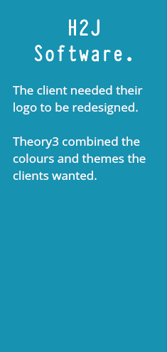 H2J Software. The client needed their logo to be redesigned. Theory3 combined the colours and themes the clients wanted.